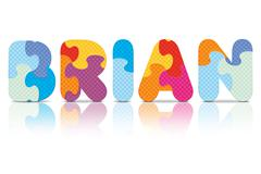 vector brian written with alphabet puzzle - stock illustration