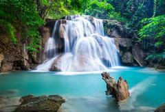 huay mae kamin waterfall at kanchanaburi province, thailand - stock photo