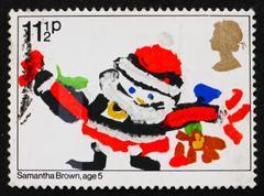 Postage stamp GB 1981 Santa Claus, Christmas Stock Photos