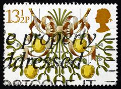 Postage stamp GB 1980 Mistletoe and Apples, Christmas - stock photo