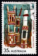 Postage stamp Australia 1971 Grave-posts, Bathurst and Melville Stock Photos