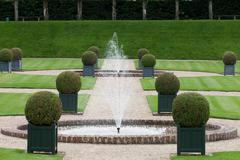 Splendid, decorative gardens at castles in france Stock Photos