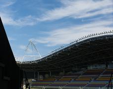 tribune on stadium - stock photo