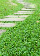 stone walk way on green grass in the garden. - stock photo