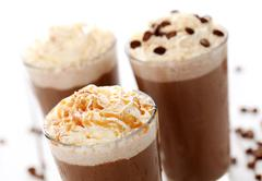 Ice coffee with whipped cream Stock Photos