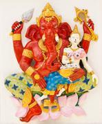 Indian or hindu ganesha god named sankatahara ganapati at temple in thailand  Stock Photos