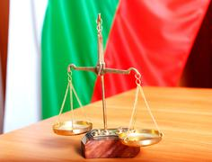 Symbol of law and justice and bulgarian flag Stock Photos