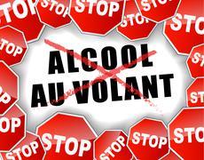 stop drunk driving french illustration - stock illustration