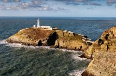 south stack lighthouse on anglesey - stock photo