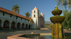 4K Old Mission Santa Barbara and Water Fountain Stock Footage