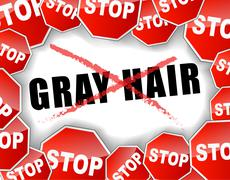 Stop gray hair concept Stock Illustration