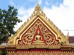 Gable of temple buddha in thailand Stock Photos