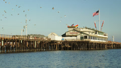Stearns Wharf along the Santa Barbara, California Coast Stock Footage