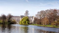 View of buckingham palace from st james park in london Stock Photos