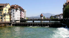 Lucerne with the river Reuss Stock Footage