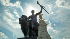Male Warrior Statue Stock Footage