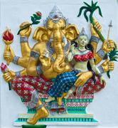 indian or hindu ganesha god named udhawa ganapati at temple in thailand ;the  - stock photo