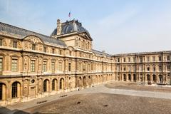 View of the louvre museum (musee du louvre) Stock Photos