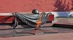 Tomb of the Unknown Soldier with burning flame in Alexander Garden Stock Footage