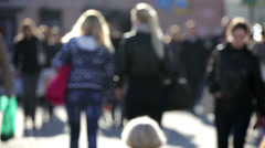 people walking on busy street - stock footage