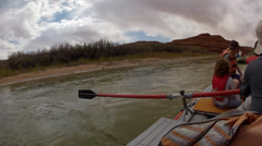 A timelapse of rowing raft down the river Stock Footage