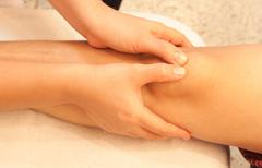 Reflexology knee massage, spa knee treatment,thailand Stock Photos