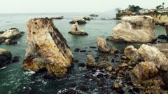 Rocky California Coast in Shell Beach - Rugged Coastline - stock footage