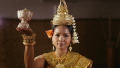 1of17 Asian female dancer showing traditional cambodian dance, khmer art Stock Footage