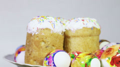 Easter cakes and eggs Stock Footage