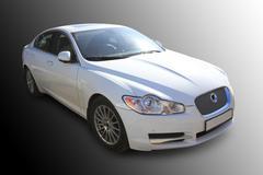 white prestige of car - stock photo
