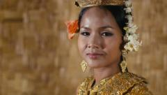 2of17 Asian female dancer showing traditional cambodian dance, khmer art Stock Footage
