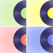 Vinyl records on colored backgrounds Stock Illustration
