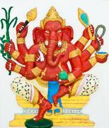 indian or hindu god named taruna ganapati at wat saman, chachoengsao, thailan - stock photo