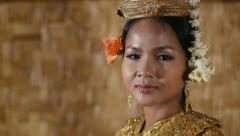 4of17 Asian female dancer showing traditional cambodian dance, khmer art Stock Footage