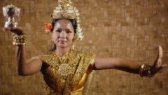 5of17 Asian female dancer showing traditional cambodian dance, khmer art Stock Footage
