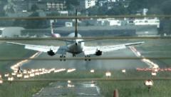 airplane landing. airport runway. plane airline. transportation transit. - stock footage