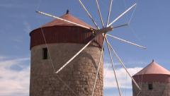 Old windmills on Rhodes Stock Footage