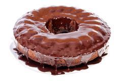 Cocoa cake with molten dark chocolate Stock Photos