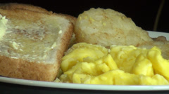Eggs, Toast, Hash Browns, Sausage, Breakfast Foods, Meals Stock Footage