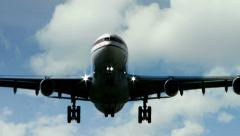 airplane flying over camera. plane airline. transportation transit. - stock footage