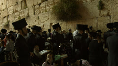 Jews Pray at the Western Wall the night before  Priestly Blessing Stock Footage