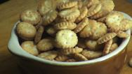 Stock Video Footage of Bowl of Crackers, Crisps, Snacks, Food