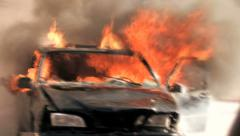 Burning car background. car on fire. demolition sabotage. emergency disaster Stock Footage