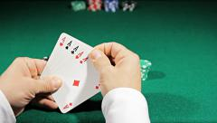 aces of poker all in - stock footage