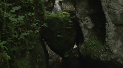 Waterfall in the heart of stone, mountain river, Slovenia, Alps Stock Footage