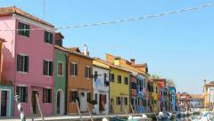 Colourful city burano pan Stock Footage