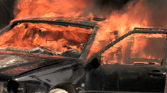 Burning car on fire. background. demolition sabotage. emergency disaster Stock Footage