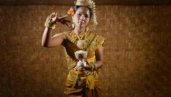 8of17 Asian female dancer showing traditional cambodian dance, khmer art Stock Footage
