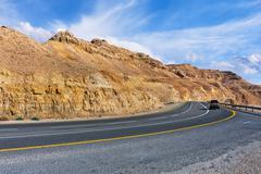 Highway in arava desert. Stock Photos