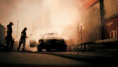 burning car background. fireman firefighter. demolition. emergency disaster - stock footage